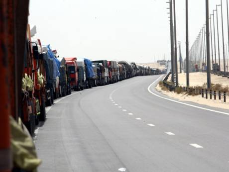Trucks stuck at the Ghuwaifat border crossing with Saudi Arabia