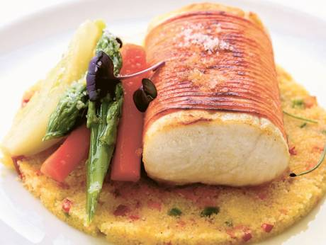 Halibut Avvolti – roasted halibut wrapped in a sheet of sweet potato on vegetable couscous