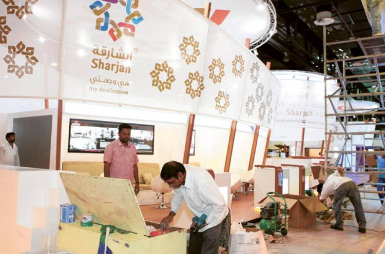 a-stall-being-prepared-for-the-arabian-travel-market