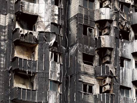 The flammable exterior tiles of Al Tayer Tower in Sharjah helped flames spread with ease