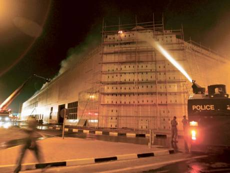 Firefighters battle the blaze at the Oasis Centre on Shaikh Zayed Road in 2006