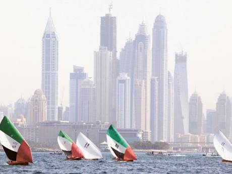 The Dubai Traditional Dhow sailing race in progress at Dubai Mina Seyahi