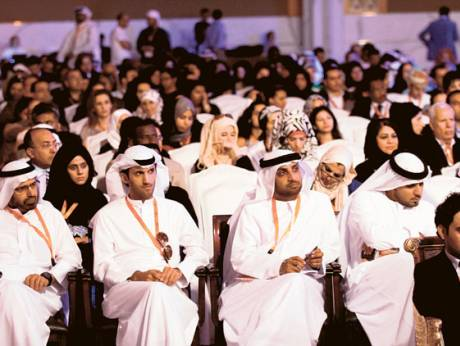Attendees during the second session of the opening day of the Arab Media Forum in Dubai