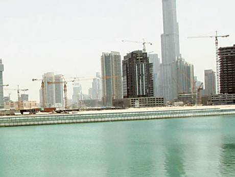 The Business Bay canal, on the side adjacent to Shaikh Zayed Road