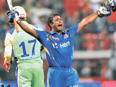 Ambati Rayudu of Mumbai Indians celebrates his team's victory against Royal Challengers Bangalore