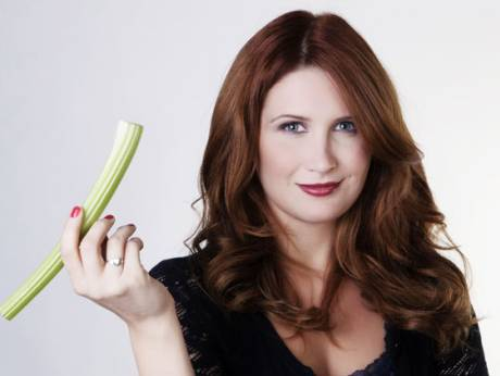 Woman with celery