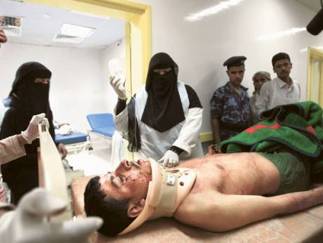 A soldier is treated at a hospital in Sana'a