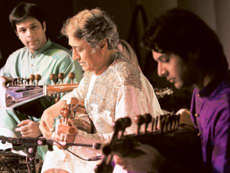 Amjad Ali Khan performs at a concert in New Delhi