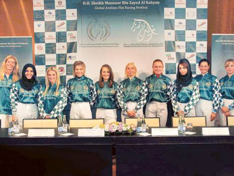 Amateur jockeys in Stockholm for the Shaikha Fatima Bint Mubarak Ladies Championship race