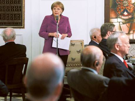 German Chancellor Angela Merkel speaks during a luncheon