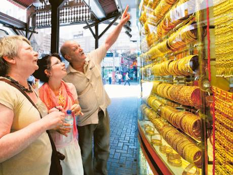 Tourists at the Dubai Gold Souk