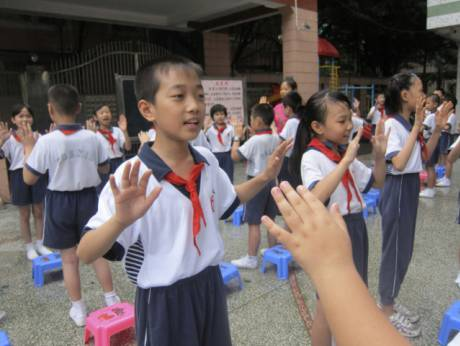 Students at Bayi Xiwang elementary and primary school
