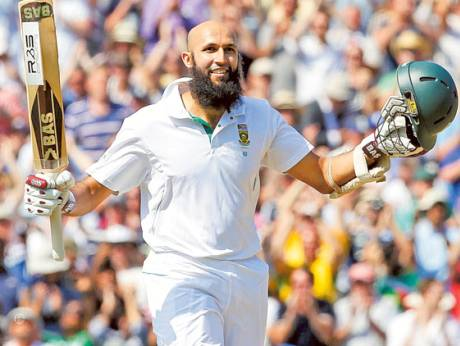 Hashim Amla of South Africa celebrates reaching 300 not out against England
