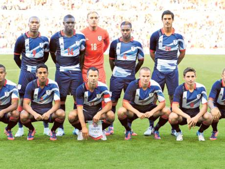 Team GB players ahead of their Olympic men's friendly soccer match against Brazil