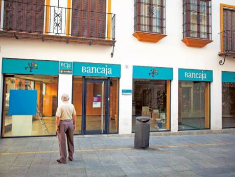 A Bankia-Bancaja branch that has been closed in Ronda, near the southern Spanish city of Malaga