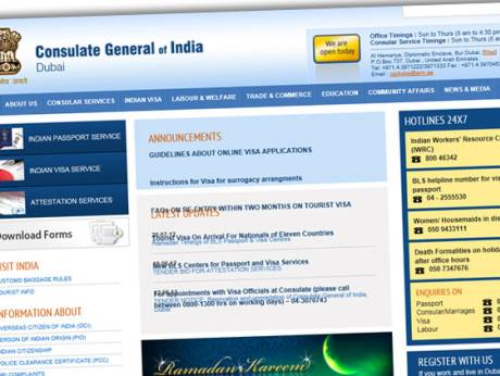 A screen-shot of official website of the Consulate General of India Dubai.
