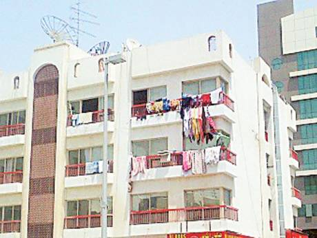 Drying laundry on balconies