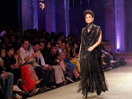 An Indian model displays a creation by Payal Kapoor