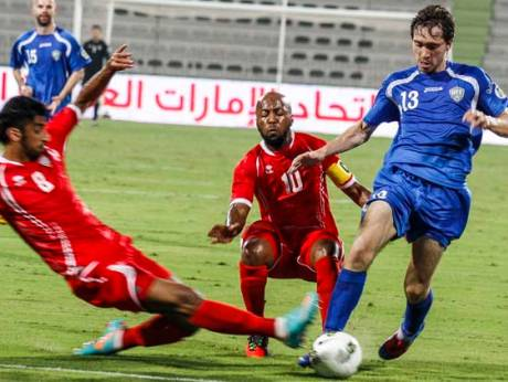 The UAE football team plays against Uzbekistan