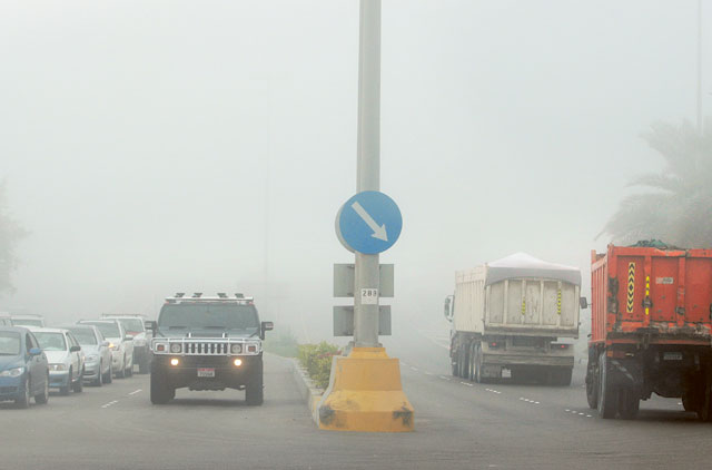 Thick fog enveloped in Abu Dhabi on Tuesday early morning