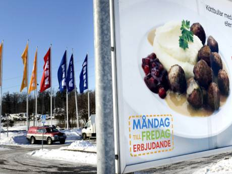An advertising billboard for IKEA meat balls