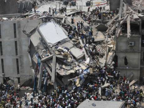 Site of building that collapsed in Bangladesh