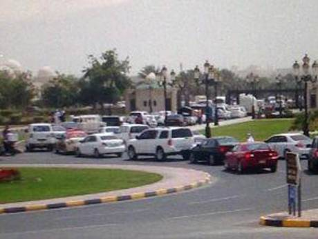 Police gather at the American University of Sharjah