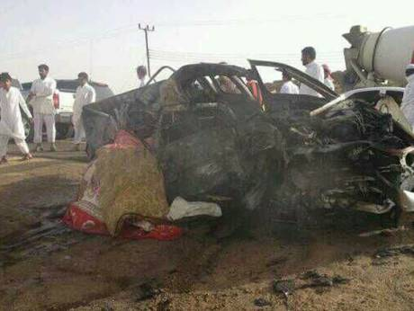 The scene of a car crash in Saudi Arabia