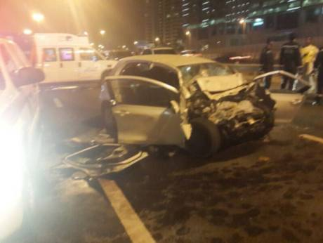 The scene of a crash on Shaikh Zayed Road