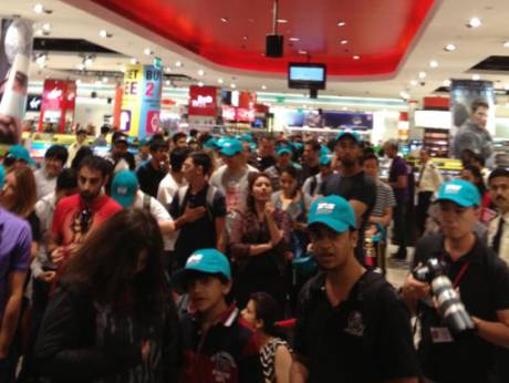 People throng the Virgin Megastore in Mall of the Emirates