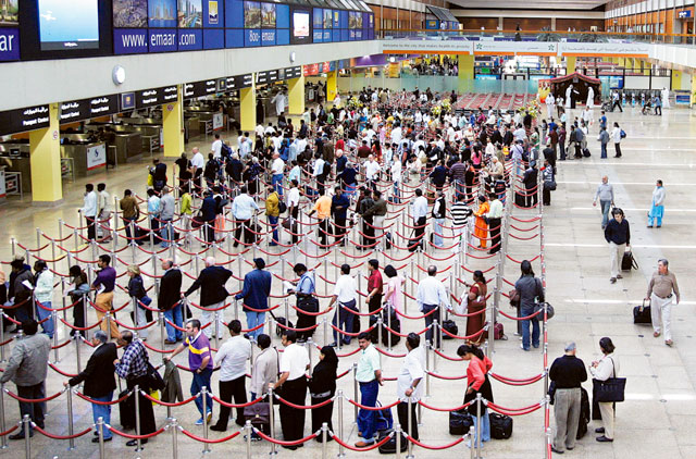 Crowd at the immigration area in the Dubai international Airport