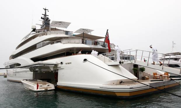 Luxurious boats and superyachts on display