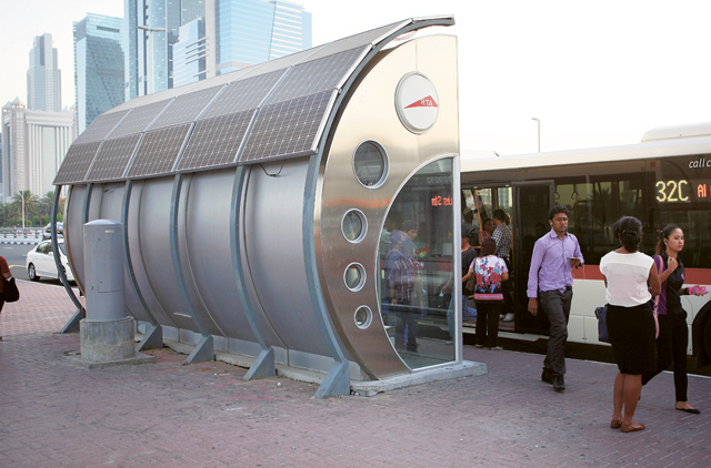 A solar-powered bus shelter.