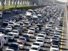 Heavy flow of traffic during morning rush hour at Shaikh Zayed road toward Dubai.