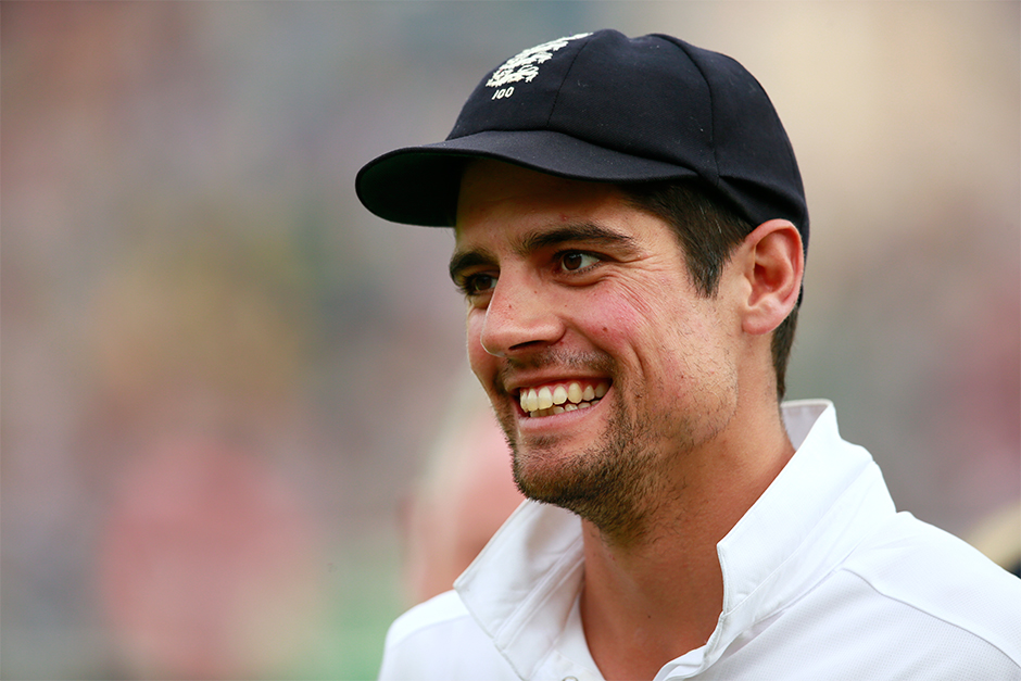 England's Alastair Cook during the after match presentation ceremony