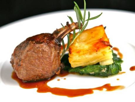 potato rose recipe roasted lamb rack potato pave wilted spinach rose mary