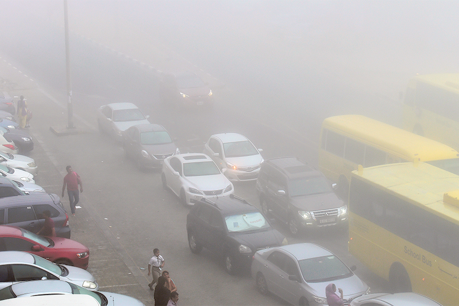 Fog reduces visibility in Sharjah on Sunday morning