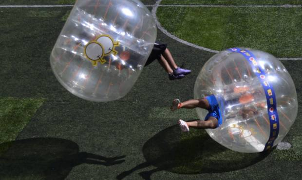 In pictures: Bubble-soccer in Medellin
