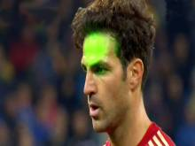 Fabregas hit with laser pen before penalty miss