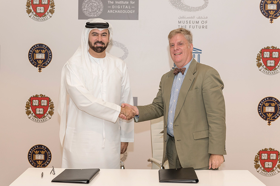 Mohammad Abdullah Al Gergawi and Dr Roger Michel, Executive Director of the Institute for Digital Ar