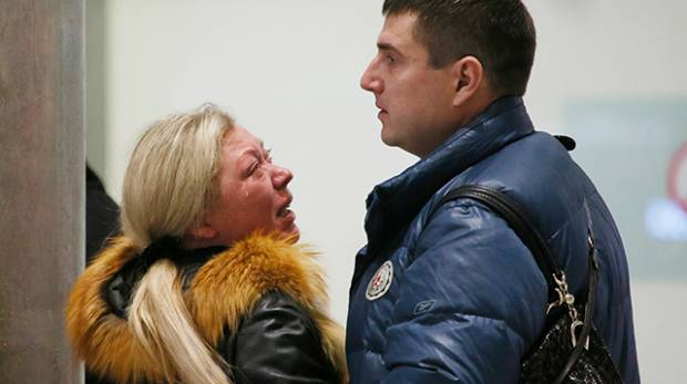 Relatives react after a Russian airliner crashed