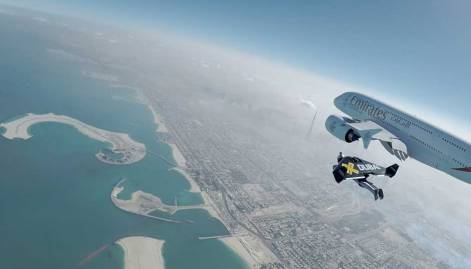 Emirates A380 and Jetman Dubai take to the skies