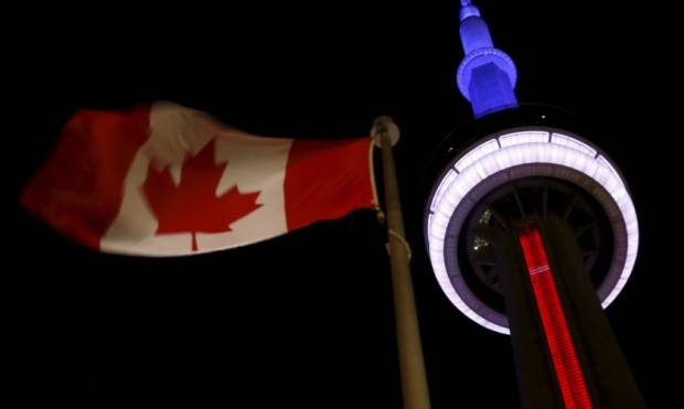 Iconic buildings lit red, white, blue in support