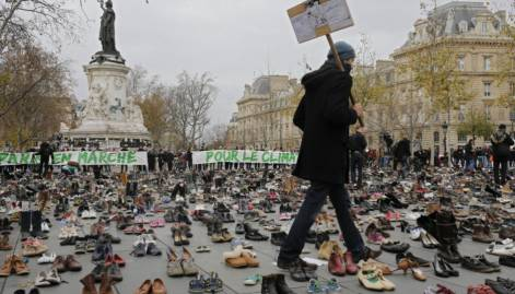 Hundreds of shoes left out in Paris
