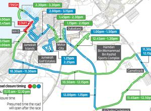 Road closures for Dubai Tour stages