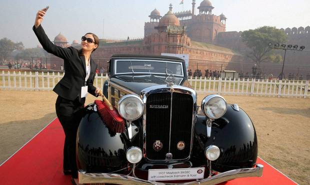 Dozens of vintage cars on display at Delhi event