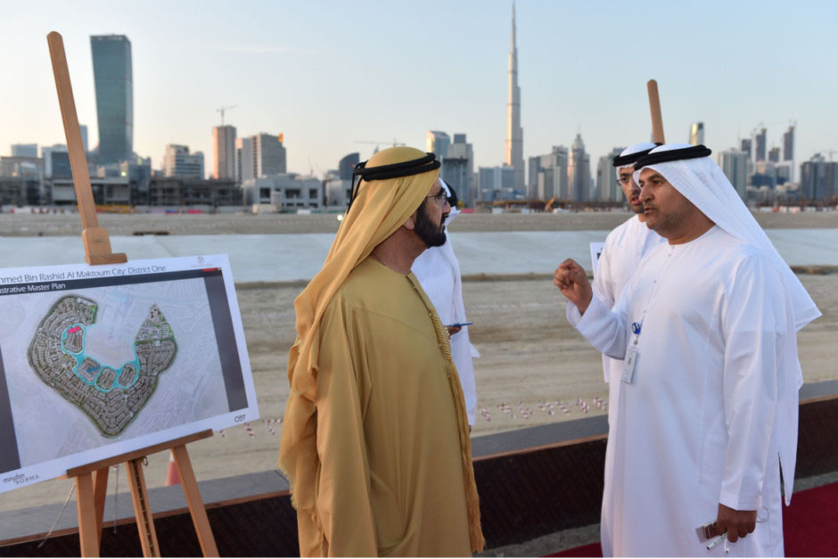 Shaikh Mohammad is briefed by Saeed Humaid Al Tayer