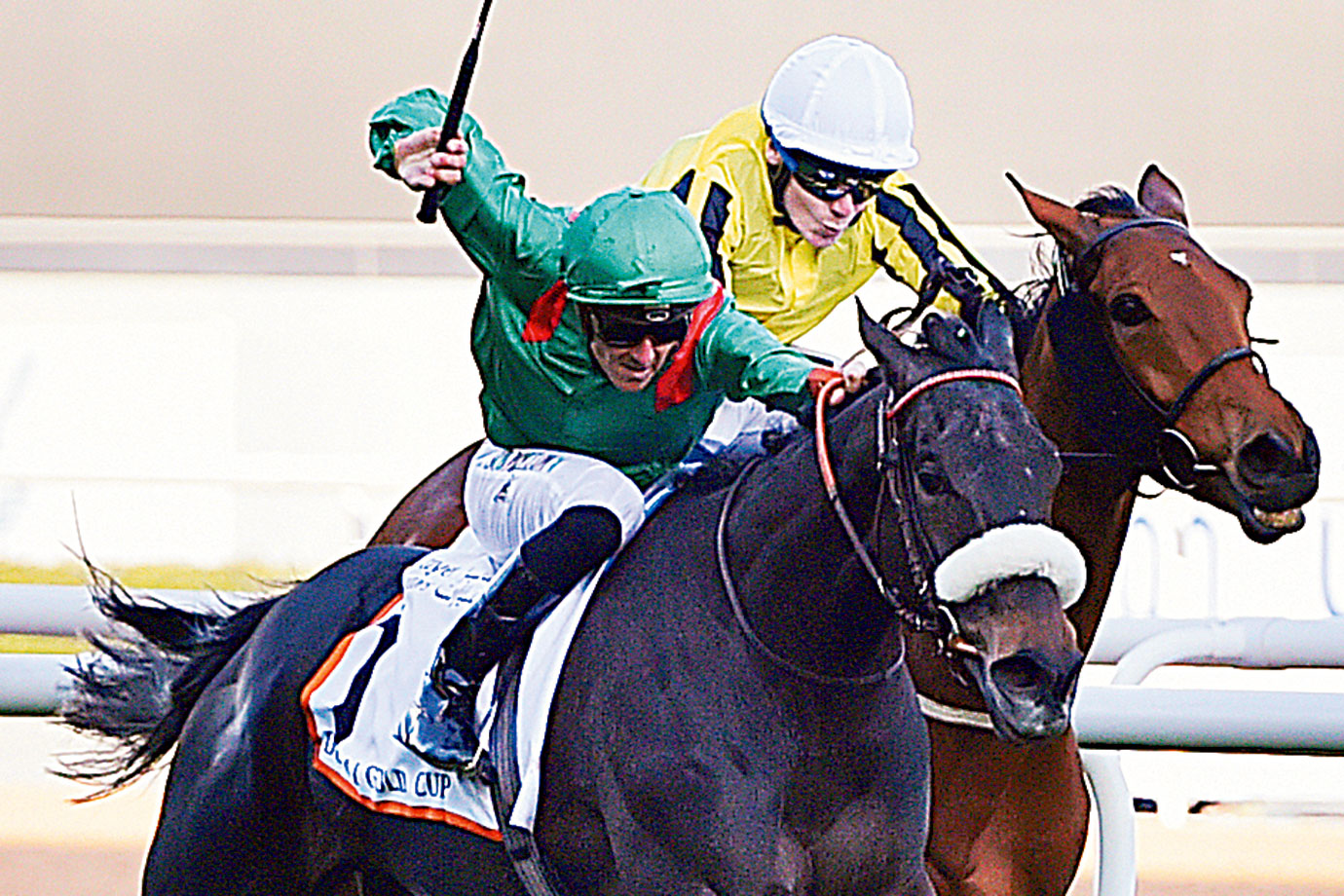 Vazirabad riden by Christophe Soumillon and trained by Alain De Royer-Dupre wins the Dubai Gold Cup