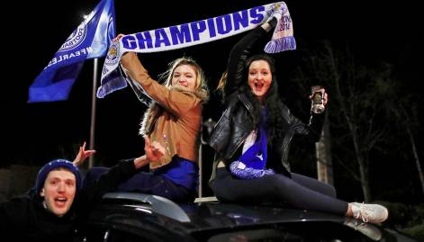 Leicester fans celebrate Premier League victory