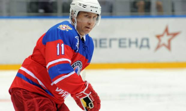 Putin prevails in a ice hockey game